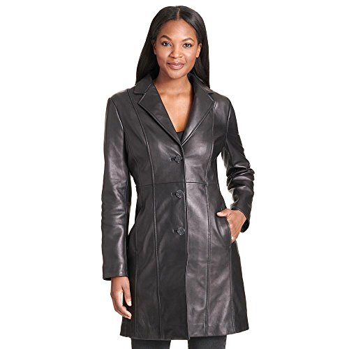 Wilsons Leather Womens Notch Collar Button Down Lamb Trench S (Notch Collar Leather)