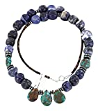 Native-Bay Retail Tag Authentic made by Charlene Little Navajo Silver Natural Turquoise Lapis Native American Necklace, Large