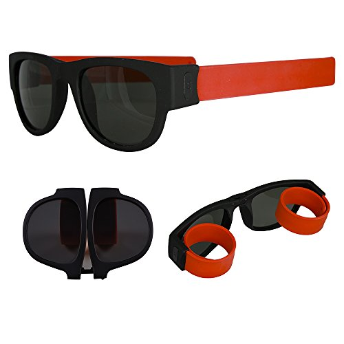 Foldable Sunglasses - Flexible Silicone Frame and Temples with Non-Polarized Lenses - Roll and Clip On Clothing, Bikes and More - Orange - by OptiPlix