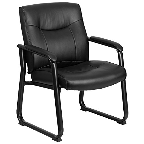 Flash Furniture Hercules Series Big and Tall Leather Executive Side Chair with Sled Base and Padded Arms, 500-Pound, Black