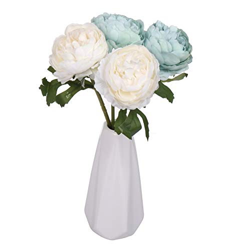 Miss Bloom Artificial Rose 4 Heads with Ceramics Vase | Hydrangea Silk Flowers Desk Decorations for Women Office | Fake Flower Centerpiece Decor for Kitchen Table (Blue & White) (Table Centerpiece Blue Flower)