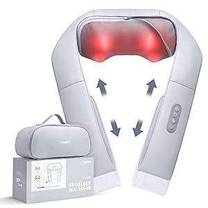 Naipo Masajeador de Cuello Espalda con Calor Ajustable y Correa, shiatsu masajeador cervical 3D eléctrico Masaje para… 41L0xU02KRL