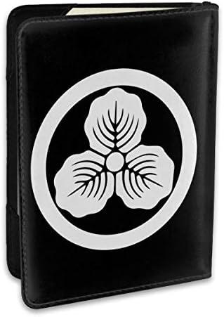島左近 三つ柏 戦国武将家紋 パスポートケース メンズ 男女兼用 パスポートカバー パスポート用カバー パスポートバッグ ポーチ 6.5インチ高級PUレザー 三つのカードケース 家族 国内海外旅行用品 多機能