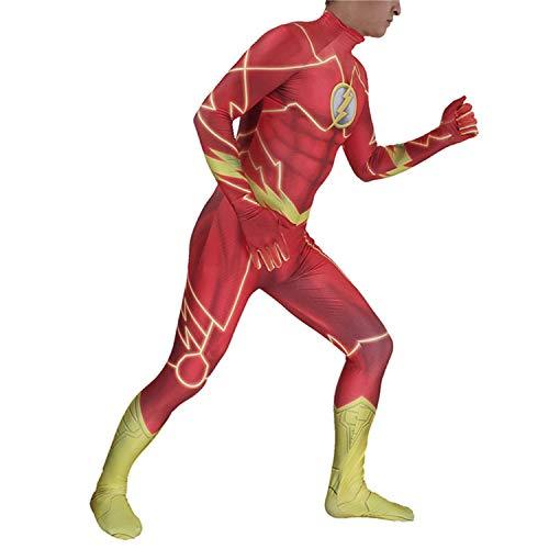 AMOCO Mens Boys Superhero Cosplay Costumes Lycra Spandex Halloween Zentai Bodysuit Suit Jumpsuit Adults/Kids 3D Style (Kids-Medium(Height:110-120cm)) Red -