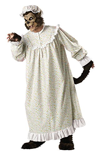 Scary Big Bad Wolf Costumes (GTH Men's Granny Nightgown Storybook Scary Big Bad Wolf Costume, X-Large (46-48))