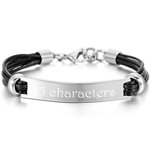 MeMeDIY Silver Tone Black Stainless Steel Genuine Leather Bracelet Cuff Adjustable - Customized Engraving
