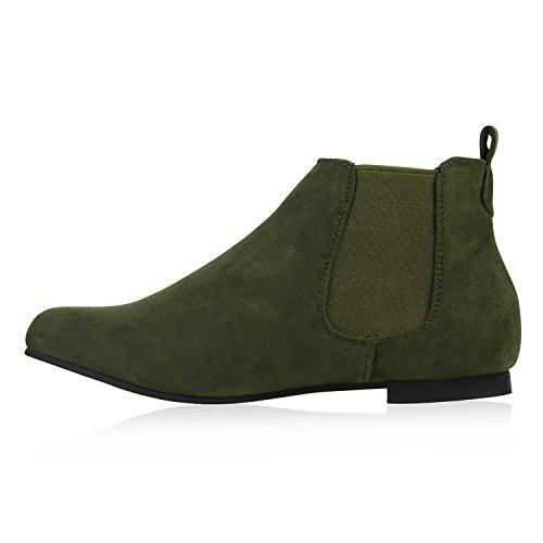 Stiefelparadies Damen Stiefeletten Chelsea Boots mit Blockabsatz Holzoptikabsatz Flandell Dunkelgrün Lasche
