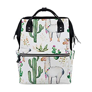 AUUXVA Diaper Backpack Cute Animal Alpaca Cactus Multi-Function Large Capacity Baby Changing Bags Zipper Casual Stylish Travel Backpacks for Mom Dad Baby Care