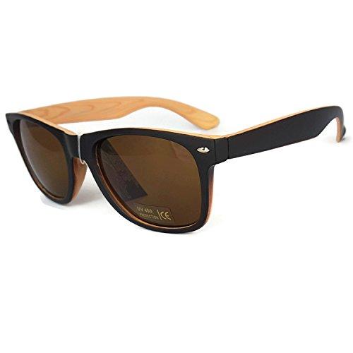 avec frame réfléchissant rétro pattern Wayfarer Wood UV400 Bicolore grain Verres de Lunettes étui New unisexes soleil R1v04