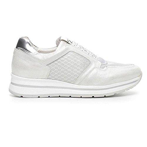 Femme Bas Sneaker En Tissu Argenté P717231d 700 - Nero Giardini