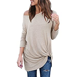 Lookbook Store Women's Casual Soft Long Sleeves Knot Side Twist Knit Blouse Top