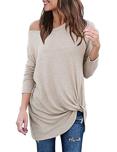 Lookbook Store Women's Casual Soft Long Sleeves Loose Fit Knot Side Twist Knit Blouse Top Shirts Apricot Size XL ()