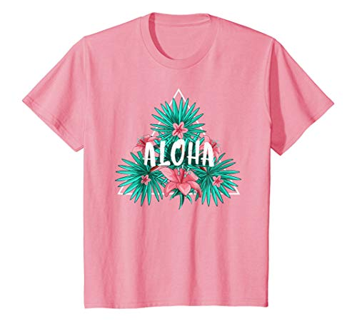 Aloha Hawaiian T-Shirt with Hibiscus Flowers and Leaves