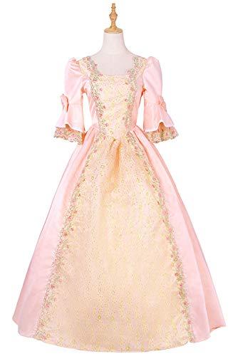 COSMOVIE Vintage Women's Pink Renaissance Dress Halloween Costumes Irish Victorian Medieval Dresses ()
