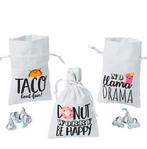 Sassy Sayings Drawstring Favor Bags Donut Llama Taco Party Supply