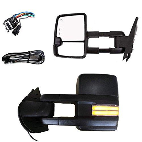 Nova For 07-14 Chevy Silverado GMC Towing Power Heated Black Cover Mirrors Turn Signal Builtinto mirror SMOKE Lights