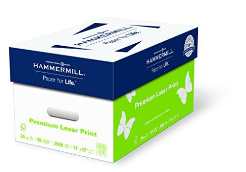 Hammermill Paper, Premium Laser Print Paper, 11 x 17 Paper, Ledger Size, 28lb Paper, 98 Bright, 4 Reams / 2,000 Sheets (125526C) Acid Free Paper