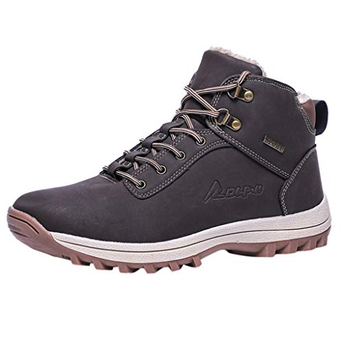 Outdoor High Top Sneakers-RQWEIN Mens Snow Boots Waterproof Outdoor Hiking Backpacking Shoes Ankle Sneakers