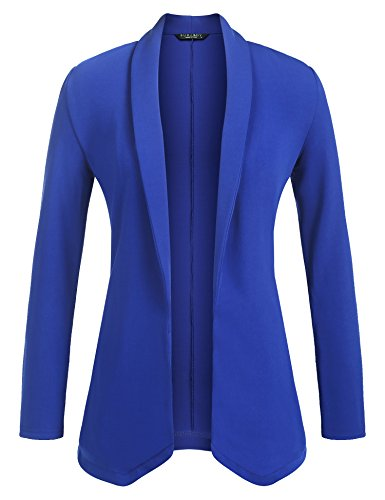 Buckle Front Jacket (Zeagoo Womens Lightweight Open Front No-Buckle Casual Draped Tuxedo Blazer Cardigan Jacket Suits,Medium,Royal Blue)
