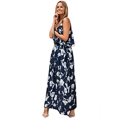 xxl Confezione Dd S Chic Da A Scollo Lf s Beach V Female Floral Summer Dress Senza Skirt colore 1 Dimensioni Retro Maniche Bluea Bluea ZddBwa