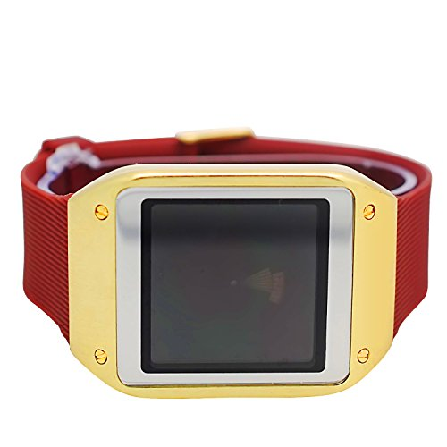 Techno Pave Digital Touch Screen Gear Square Face Gold Plated Bezel with Brown Rubber Band Watch