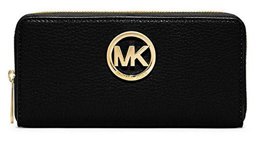 3f9ceb7c0749 Michael Kors Fulton Zip Continental Wallet in Black Leather - Import ...