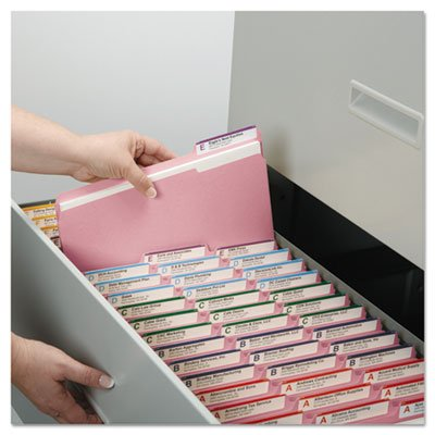 File Folders, 1/3 Cut Top Tab, Letter, Pink, 100/Box, Total 500 EA by Smead
