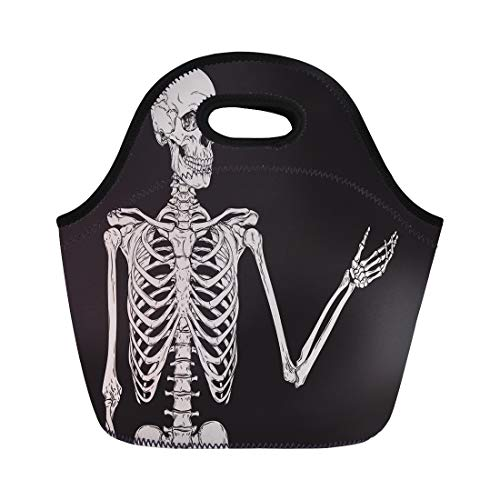 Semtomn Lunch Tote Bag Hand Human Skeleton Posing Over Body Drawing Vintage Grave Reusable Neoprene Insulated Thermal Outdoor Picnic Lunchbox for Men -