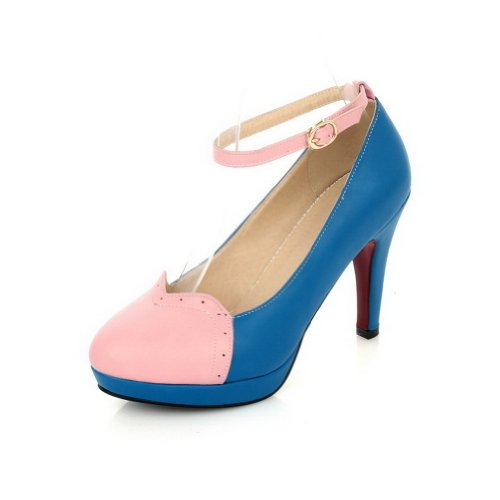 VogueZone009 Womans Closed Round Toe High Heel Spikes Stilettos PU Frosted Solid Pumps, Blue, 5.5 UK
