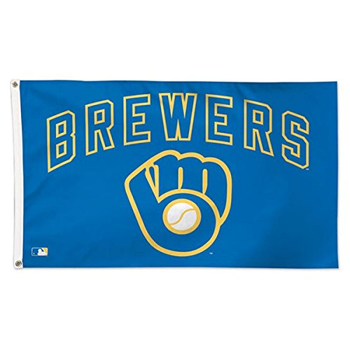 WinCraft MLB Milwaukee Brewers 01781115 Deluxe Flag, 3' x 5' (Milwaukee Brewers Rock)