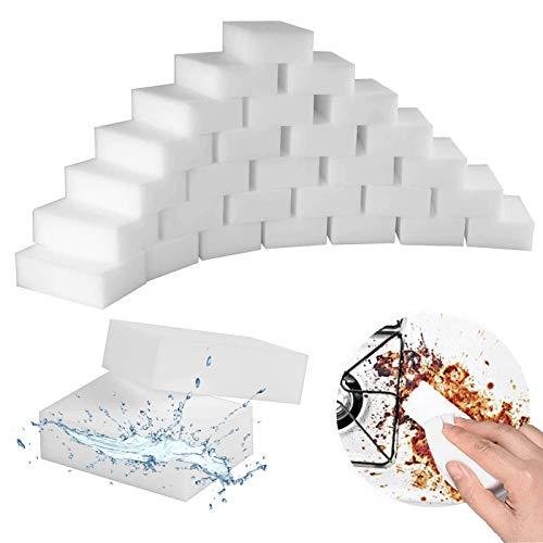 Magic Cleaning Sponges Eraser, 100 Pack Multi-Functional Melamine Sponge Foam Pads, Dish Sponges, Household Cleaner Non-Scratch Scrub Sponge for Kitchen, Bathtub, Furniture,Shoe,Car Wash