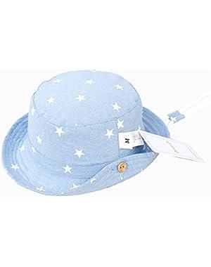 Baby Girls Boys Kids Cowboy Play Sun Hats Caps Reversible Brim Adjustable Drawstring!