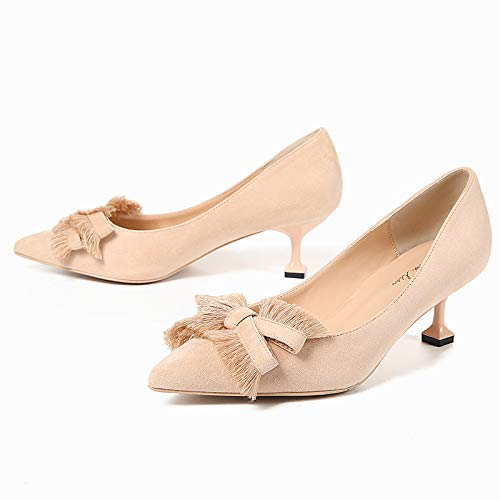 With Women'S Nude High Point And Apricot 5Cm Bow Stiletto Shoes heels Single Girl Heel Color High Yukun Wild Cat ZCqnqY