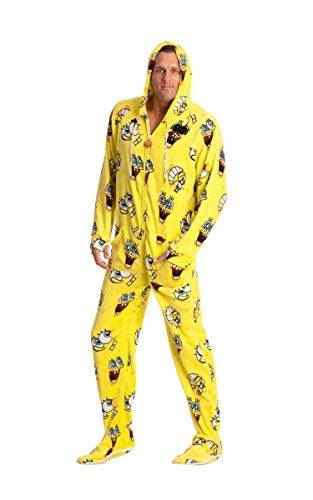 Sponge Bob Square Pants Adult Footed Onesie Unisex Pajamas for Men Women Teens (XS) Yellow -
