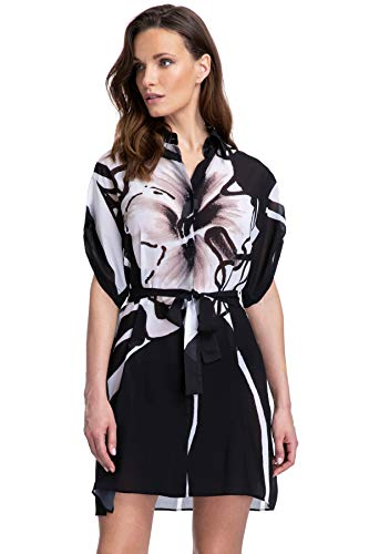 Gottex Women's Shirtdress Swimsuit Cover Up, Midnight Rose Black White, Large