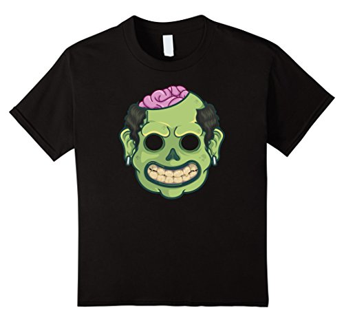 Price comparison product image Kids Green Zombie Purple Brains Halloween Mask T-Shirt Tee Shirt 4 Black