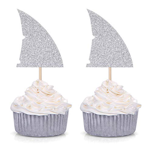 Set of 24 Silver Glitter Shark Fin Cupcake Toppers/Picks for Baby Shower Wedding Birthday Party Decorations -