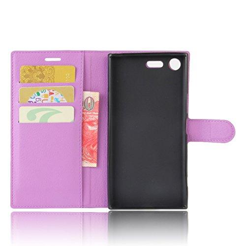Lusee® PU Caso de cuero sintético Funda para Sony Xperia XZ Premium 5.5 Pulgada Cubierta con funda de silicona violeta violeta