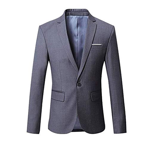 Dress Coat Blazer Casual Slim Fit Lapel Suit Jacket One Button Daily Business Blazer Slim Fit Casual Jacket Coat for Man (4XL,14#Gray) -