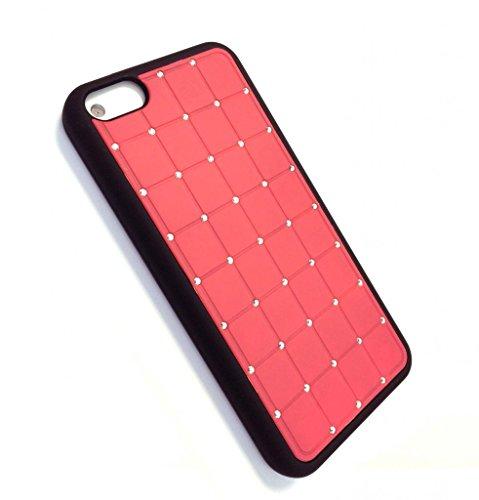 Qualité Iphone 5c CRISTAL DE LUXE Croix-Rouge Case Hard Cover Bling de diamant avec cadre noir pour Apple iPhone 5C