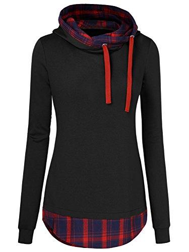 Cute Plaid Shirts (WAJAT Women's Plaid Checkered Slim Fit Hoodie Tops Sweatshirts Black XL)