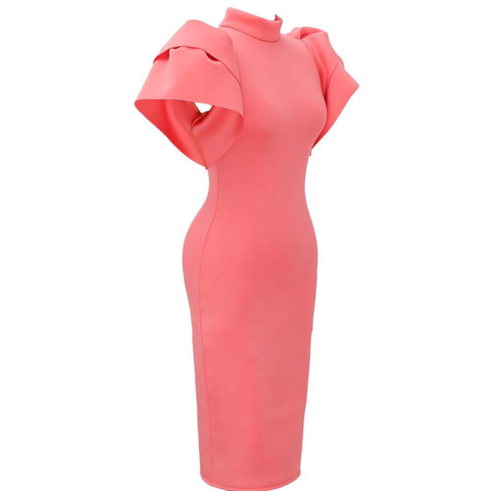 Culater Vestido Tallas Grandes con Volantes En El Cuello De La Tortuga con Cuello Redondo Vestido De Fiesta para Mujer: Amazon.es: Ropa y accesorios
