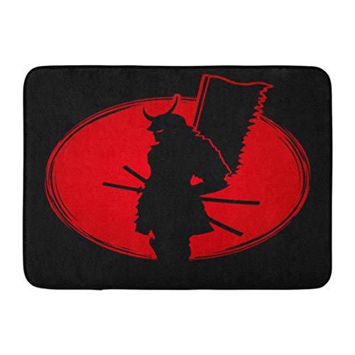 Puyrtdfs Doormats Bath Rugs Outdoor/Indoor Door Mat Warrior Samurai Standing Designed on Sunset Graphic Flag Helmet Mask Bathroom Decor Rug 16