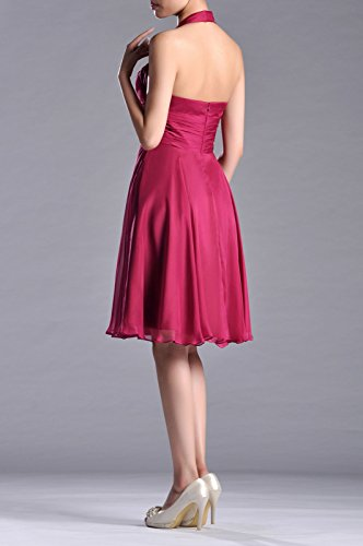 A Halter Chiffon Dress Special Occasion Daffodil Knee Bridesmaid Natrual Length line q5px75wB