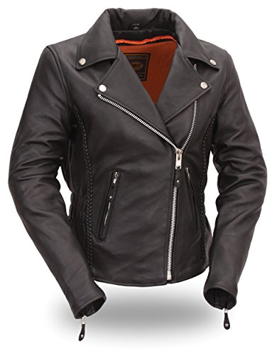 (Women's Allure Black Leather Hourglass Fit Motorcycle Jacket with Braid Trim (M,)