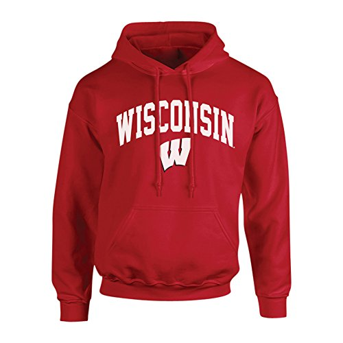 Wisconsin Badgers Men's Arch Hoodie Sweatshirt, True Red, Large ()