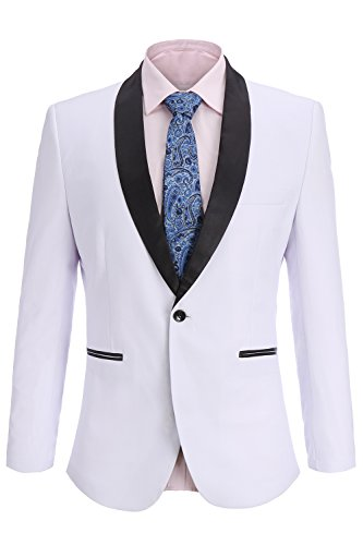 FISOUL Men's Suit Skinny Fit Suit Jacket Stylish Casual Single Breasted One-Button Blazer Tuxedo by FISOUL