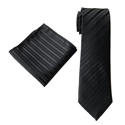 - Men's Narrow Stripe Pattern Ties Pocket Square Set Solid Color Jet Black Necktie