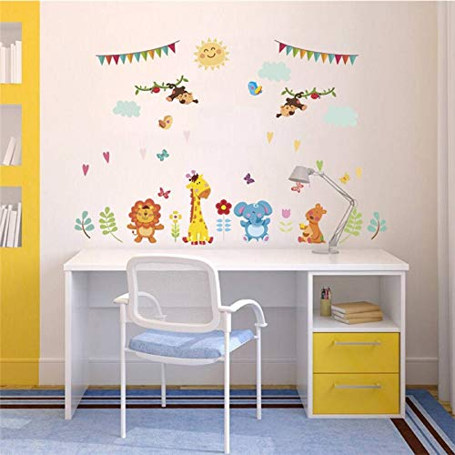 Cartoon Forest Animals Lion Giraffe Monkey Butterfly Wall Stickers for Children Rooms Home Decor Wall Decals Posters Mural