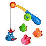 Bath Toys Water Play Fishing Game with 4 Cute Floating Fish Ideal Gift for Kids